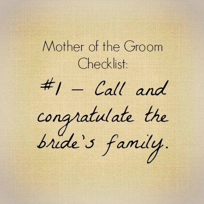Checklist Item No. 1 for Mother of the Groom